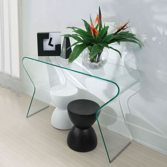 Respite Modern Glass Console Table | Bent Glass Table | Modern Home Accent | Eurway