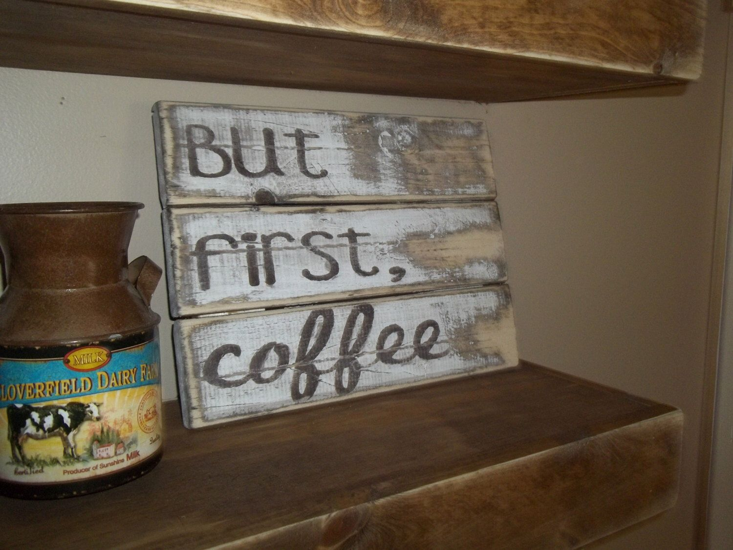 Charming But First, Coffee Sign. Rustic Coffee Sign. Shabby Chic Kitchen Sign. Rustic