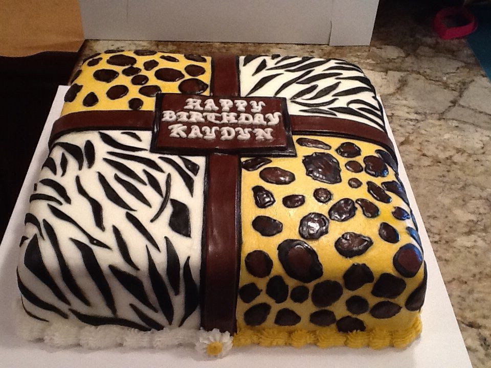 Animal Print Cake Leopard Zebra Print Fondant On Buttercream