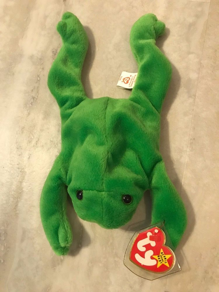 098ed52cbb7 NEW Beanie Baby Original TY Legs Green Frog Authenticated RARE Retired  Coll.  Ty