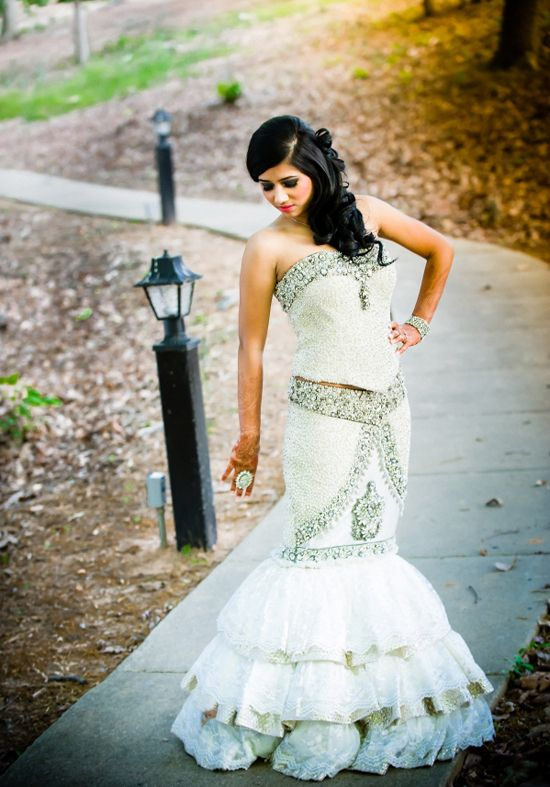 aee6d0f0e Love that this lengha is styled like a western wedding gown! | One ...