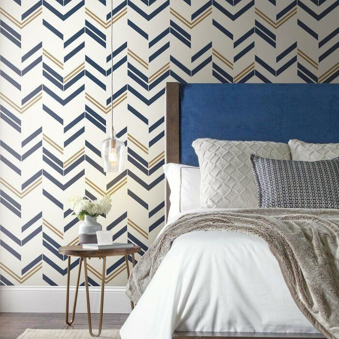 Timm Chevron And Herringbone 16 5 L X 20 5 W Peel And Stick Wallpaper Roll Peel And Stick Wallpaper Wallpaper Roll Accent Wallpaper