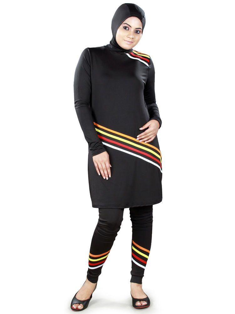 70386404bc Muslim Modest Swimsuit Hijab Swimwear Burkini Islamic Black Maillot  Islamique  Unbranded  MuslimSwimwear