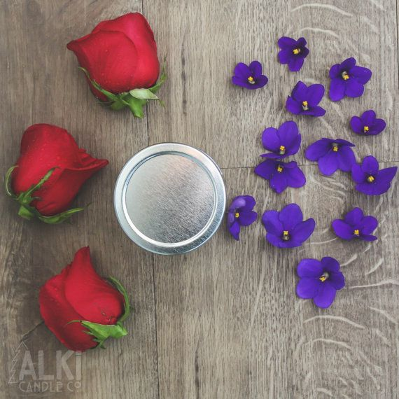 All Natural, Eco-Friendly Soy Candle. Roses are Red, and Violets are blue, two wonderful Valentines Day candles coming to you! Buy them both for 28.00 at Alki Candle Co.