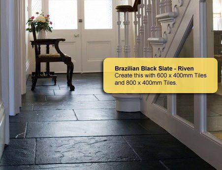 Love This Brazilian Black Slate Flooring In The Foyer Large Tiles