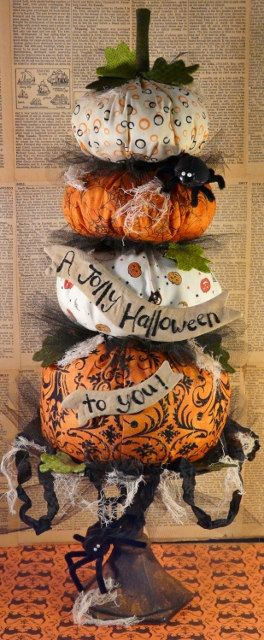 New Big HALLOWEEN Pumpkin Stack E Pattern - primitive banner decor prim spider…