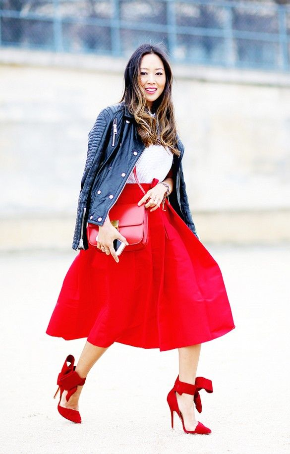 494528821a 22 Fall Outfit Ideas Built Around Our Favorite Skirts via @WhoWhatWear. Full  Red Midi Skirt and Red Heels with Bows- spectacular!