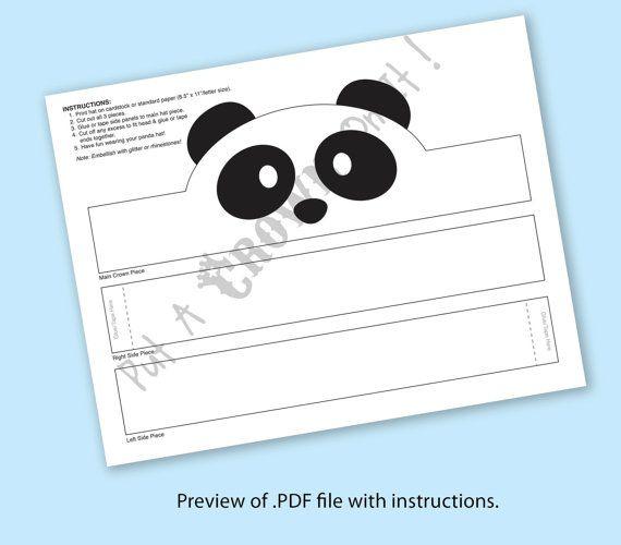 Panda Paper Crown Printable Products Coronas De Papel