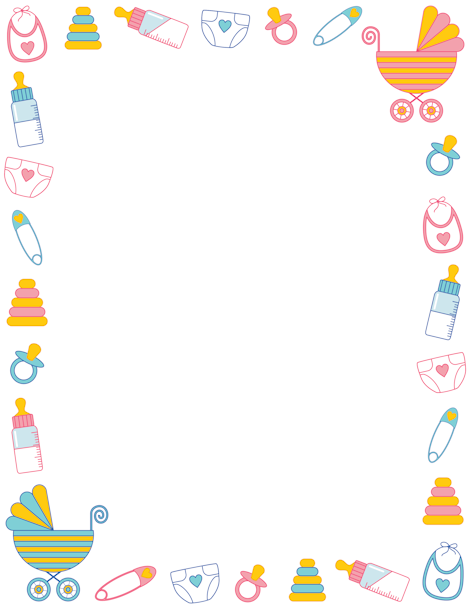 Printable baby shower border. Free GIF, JPG, PDF, and PNG downloads at http://pageborders.org/download/baby-shower-border/. EPS and AI versions are also available.
