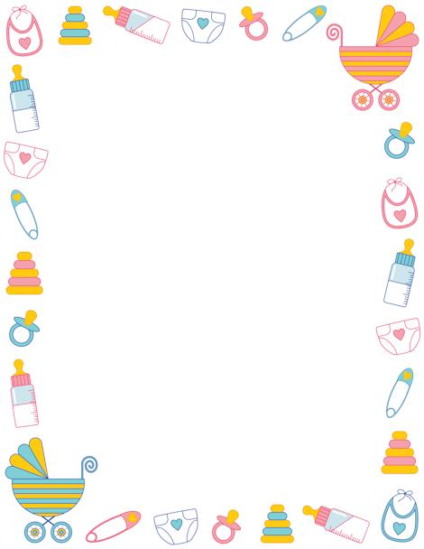 Baby Shower Border Clip Art Page Border And Vector Graphics Kartu Bayi Kartu Kartu Nama