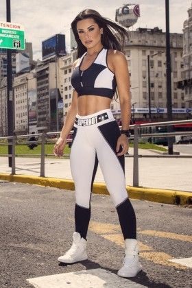 1fab1fb61db Top SH Label White e Calça Fit Fever - Super Hot TOP455-CAL454 Dani Banani  Fashion Fitness
