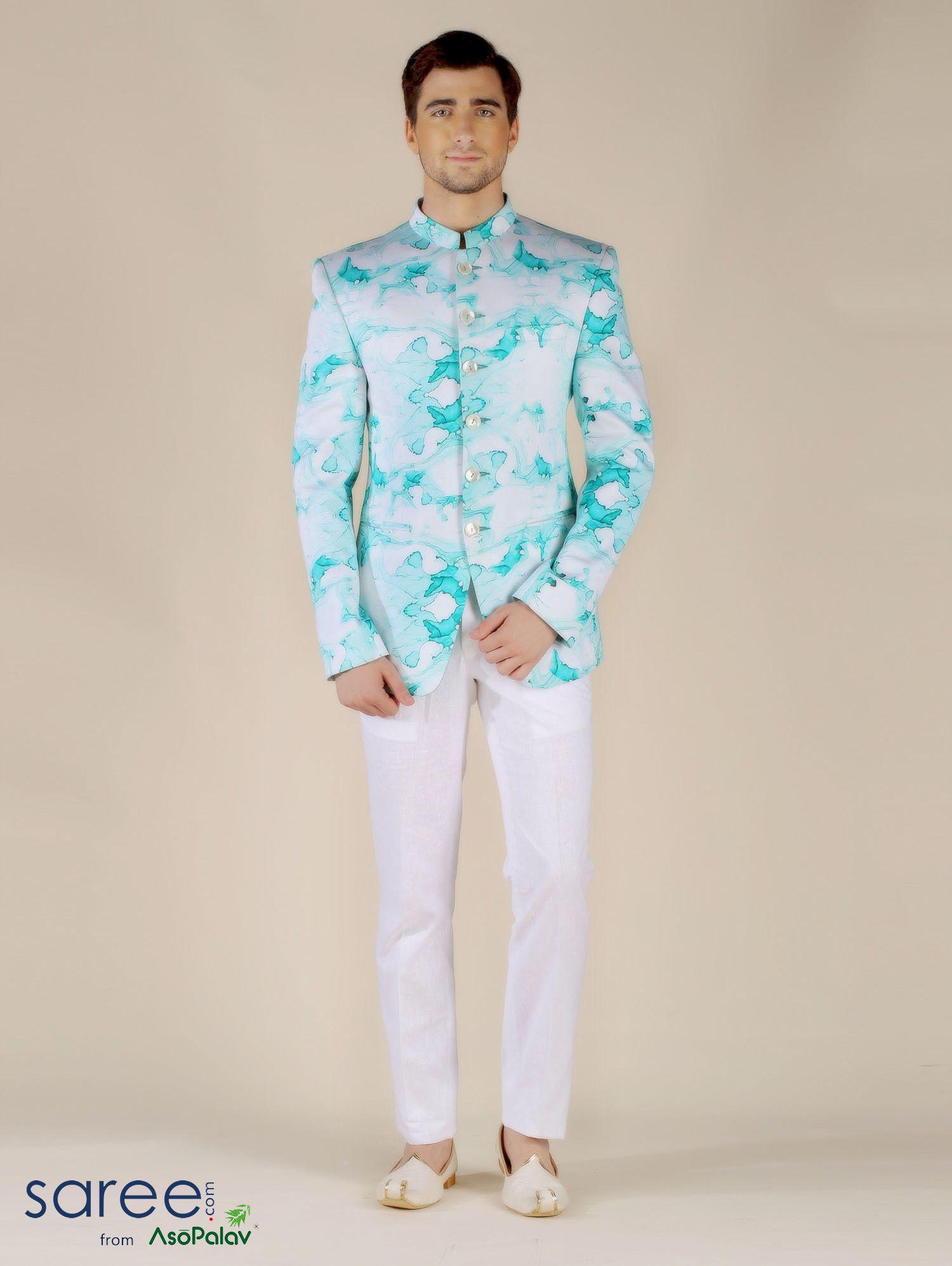 WHITE AND SEA GREEN SILK JODHPURI SUIT #Menswear #Indowestern ...