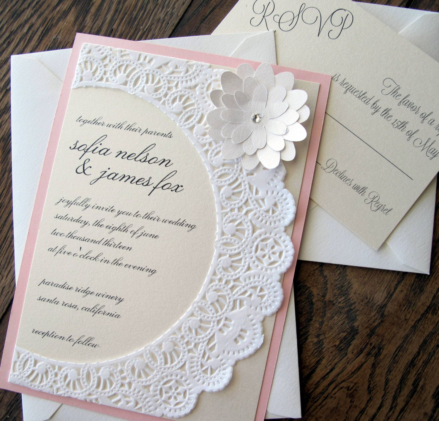 Vintage shabby chic Lace Doily Wedding Invitation