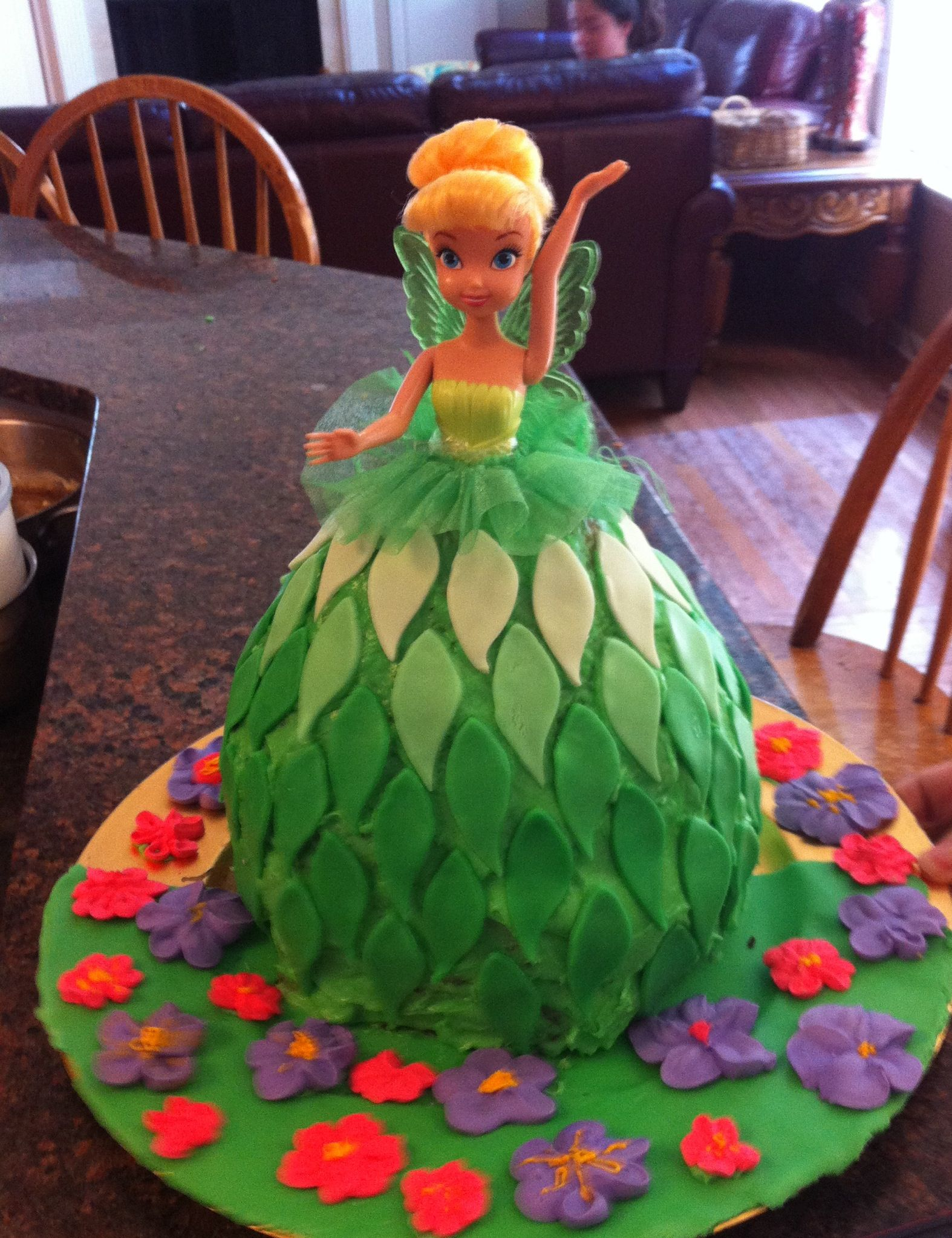 Tinker bell doll cake Fondant leaves in ombr colors Chocolate and
