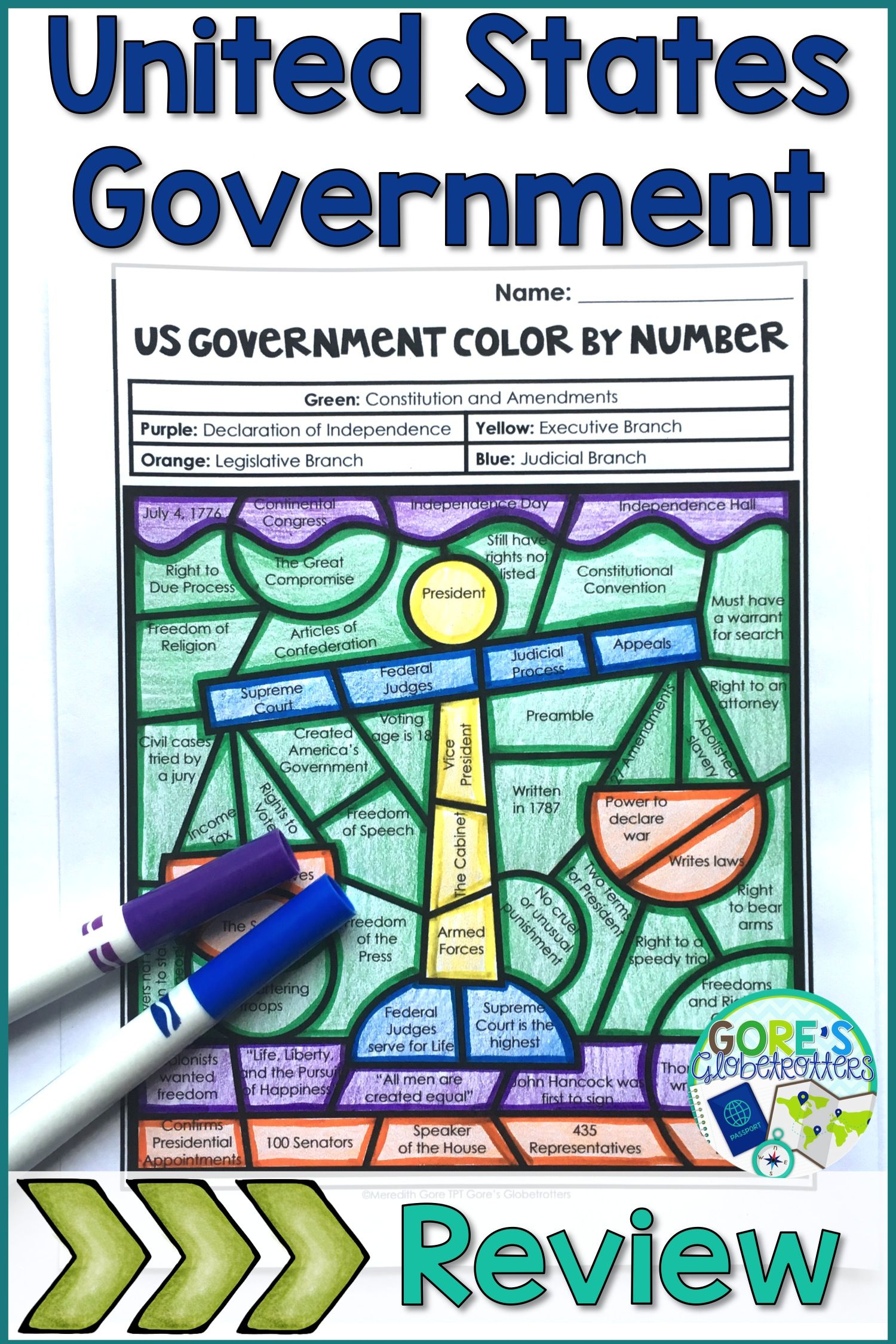 Social Studies United States Government Color by Number Worksheet in ...