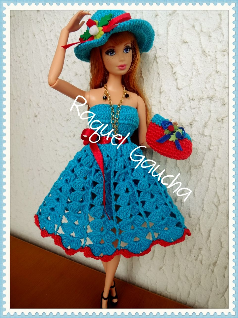 Barbie #Doll #Crochet #Muñeca #Vestido #Dress #Purse #Bolsa #Chapéu ...