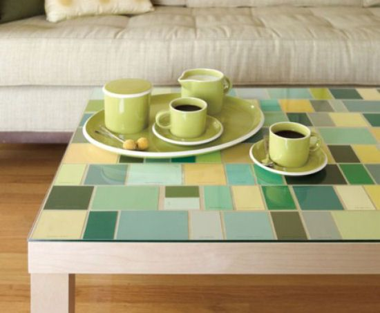 paint chips used to decorate table top - great idea for our bedroom or bathroom.