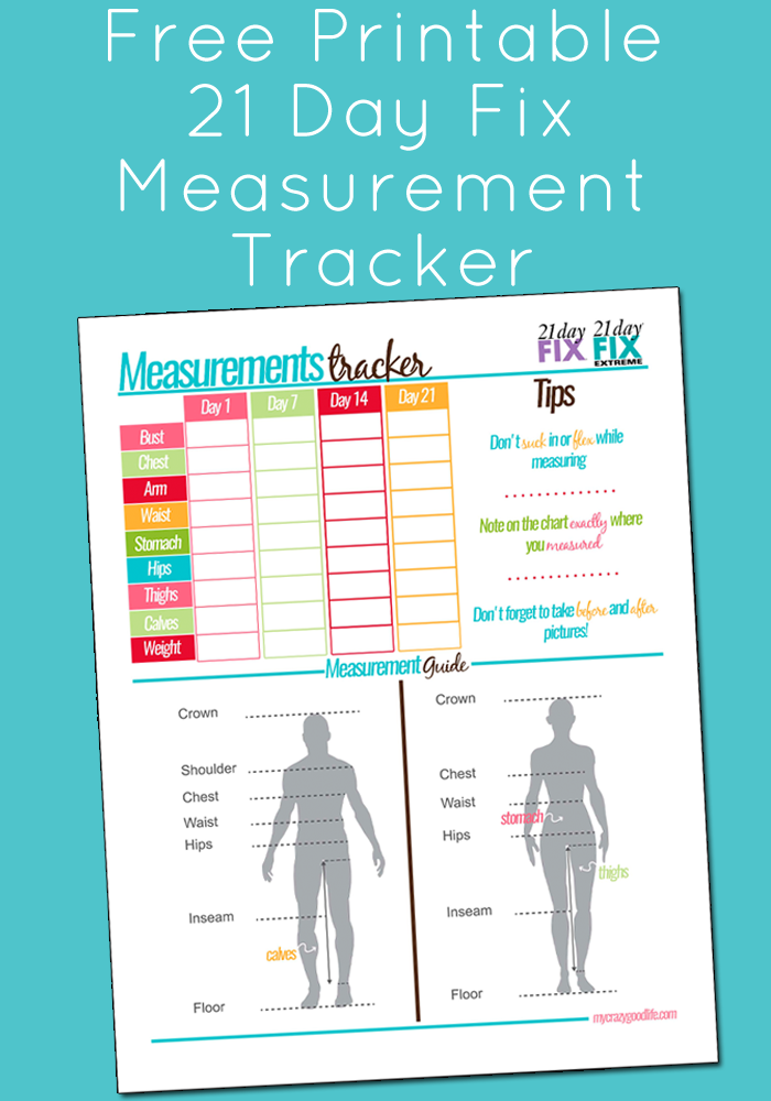 free printable 21 day fix measurement tracker  21dayfix