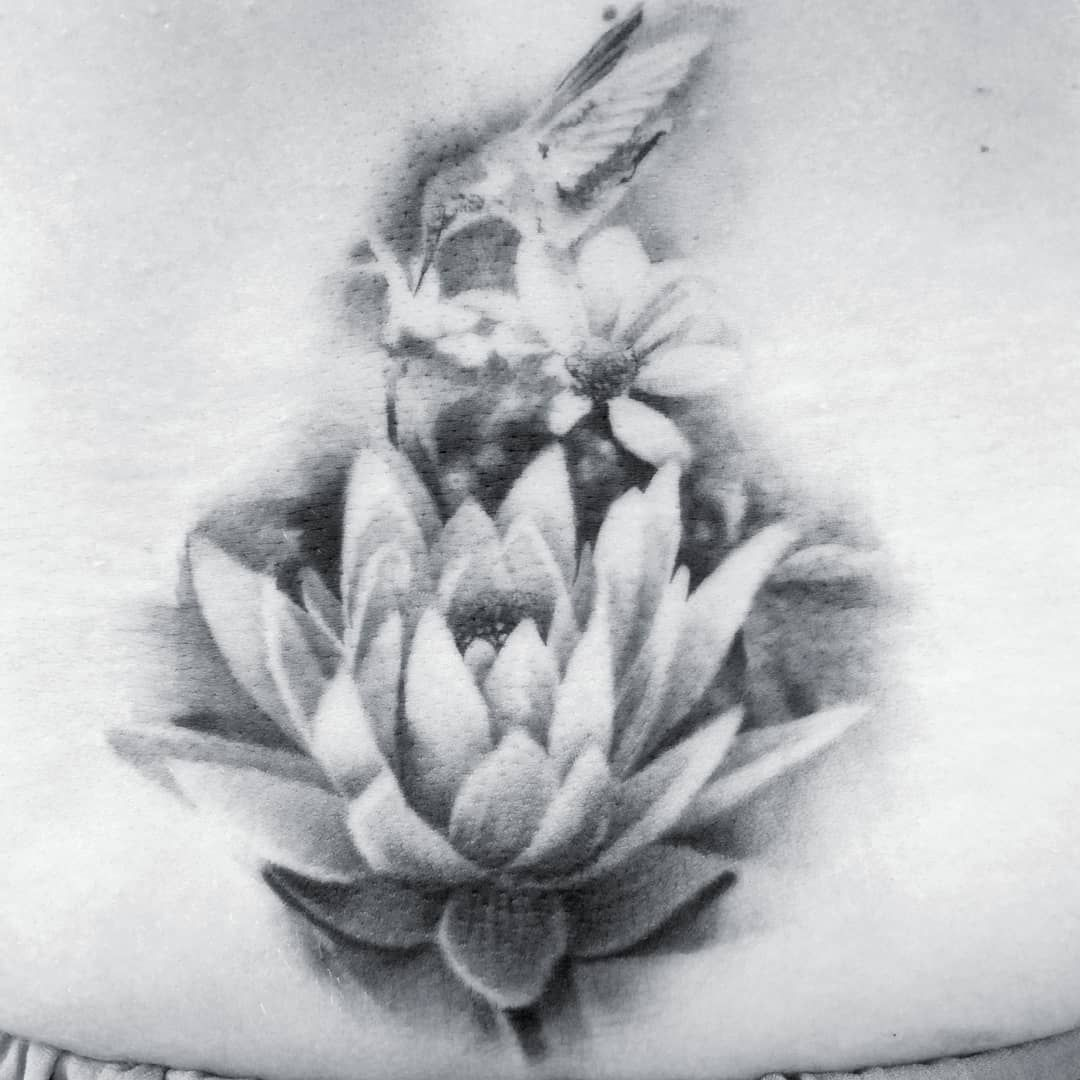 Raponemarco Lotus Flower Composition Realistic Black And Grey Tattoo Done With Silverbackink Cheyenne Tattooe Black And Grey Tattoos Tattoos Black And Grey