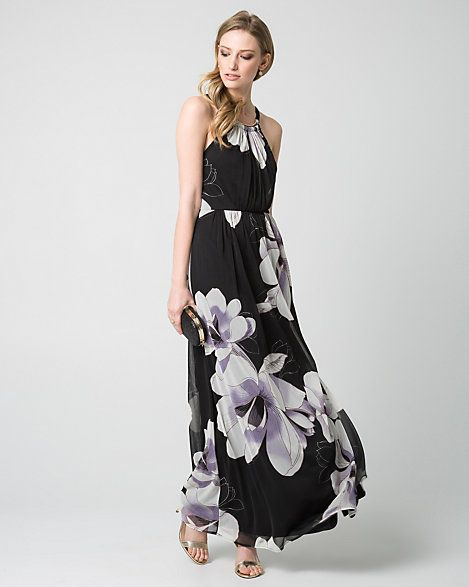 a97a090c3d3 Floral Print Knit Halter Gown - Ethereal large floral prints add elegance  to this flowing knit halter gown.