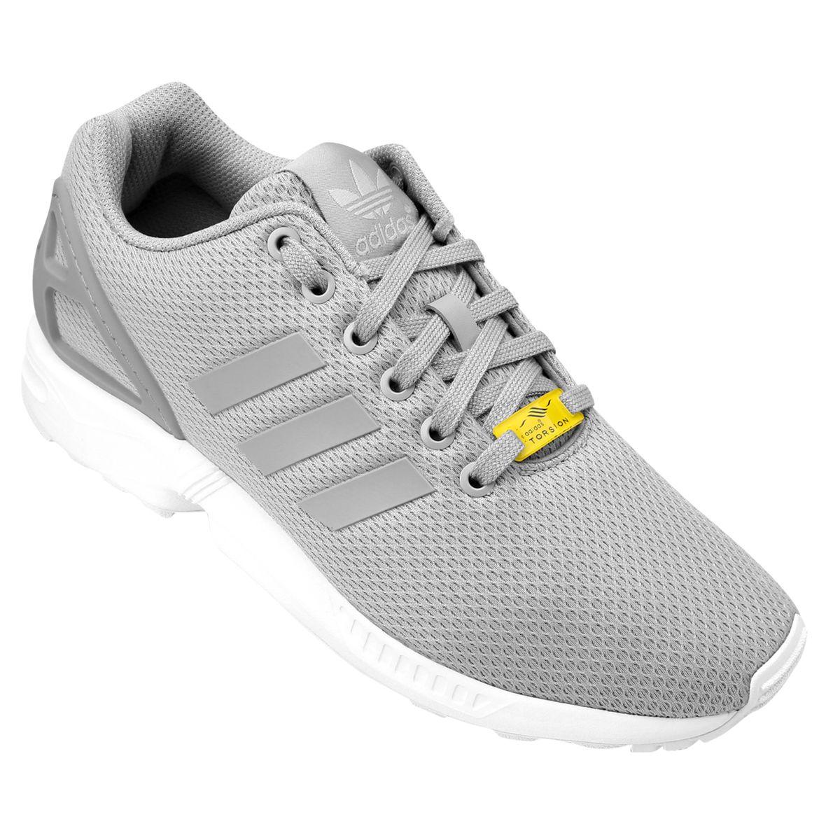 e6a7d729628 Tênis Adidas ZX FLUX Cinza e Branco