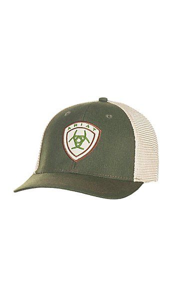 4773660ddd3 Ariat Forest with Tan Logo and Cream Mesh Back Snap Back Cap ...