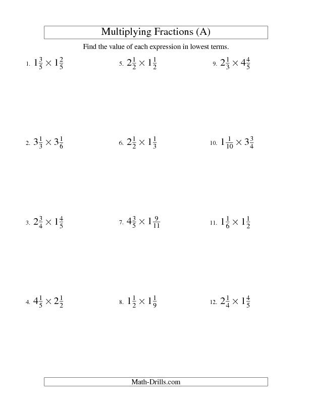 Fractions Worksheet -- Multiplying and Simplifying Mixed Fractions ...