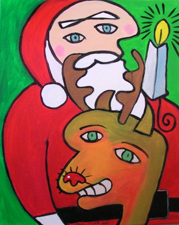 Picasso face image Christmas and Holiday Ornament
