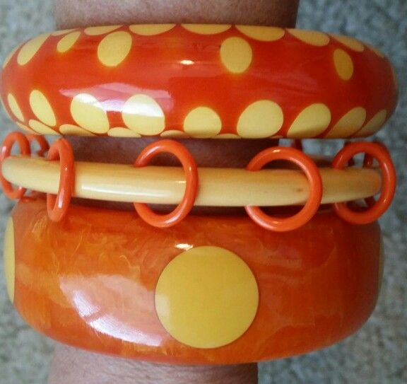 Vintage Orange And Ivory Bakelite Bracelets