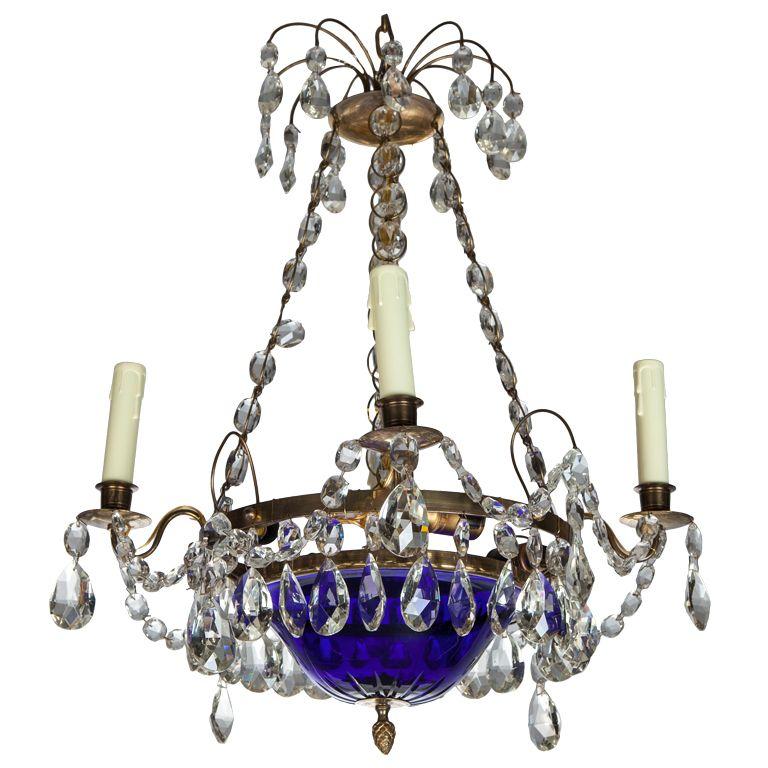 19th Century Four Light Swedish Chandelier with Cobalt Blue Bowl