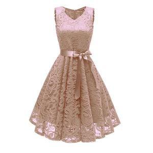 Womens Dress-Vintage Lace Dress Runway dress Summer vestido Bow belt V-Neck Party A-Line Cami Dresses Elegant Dresses Vetement femme 2019