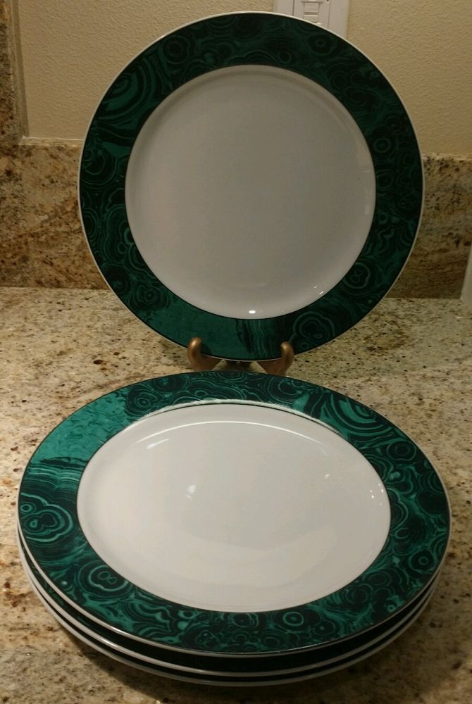 Gabbay Green Marble MALACHITE Dinner Plates Set of Four #Gabbay & Gabbay Green Marble MALACHITE Dinner Plates Set of Four #Gabbay ...