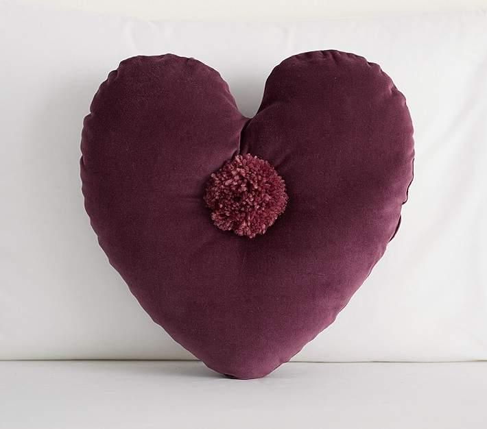 The Emily Amp Meritt Velvet Heart Pom Pillow With Images