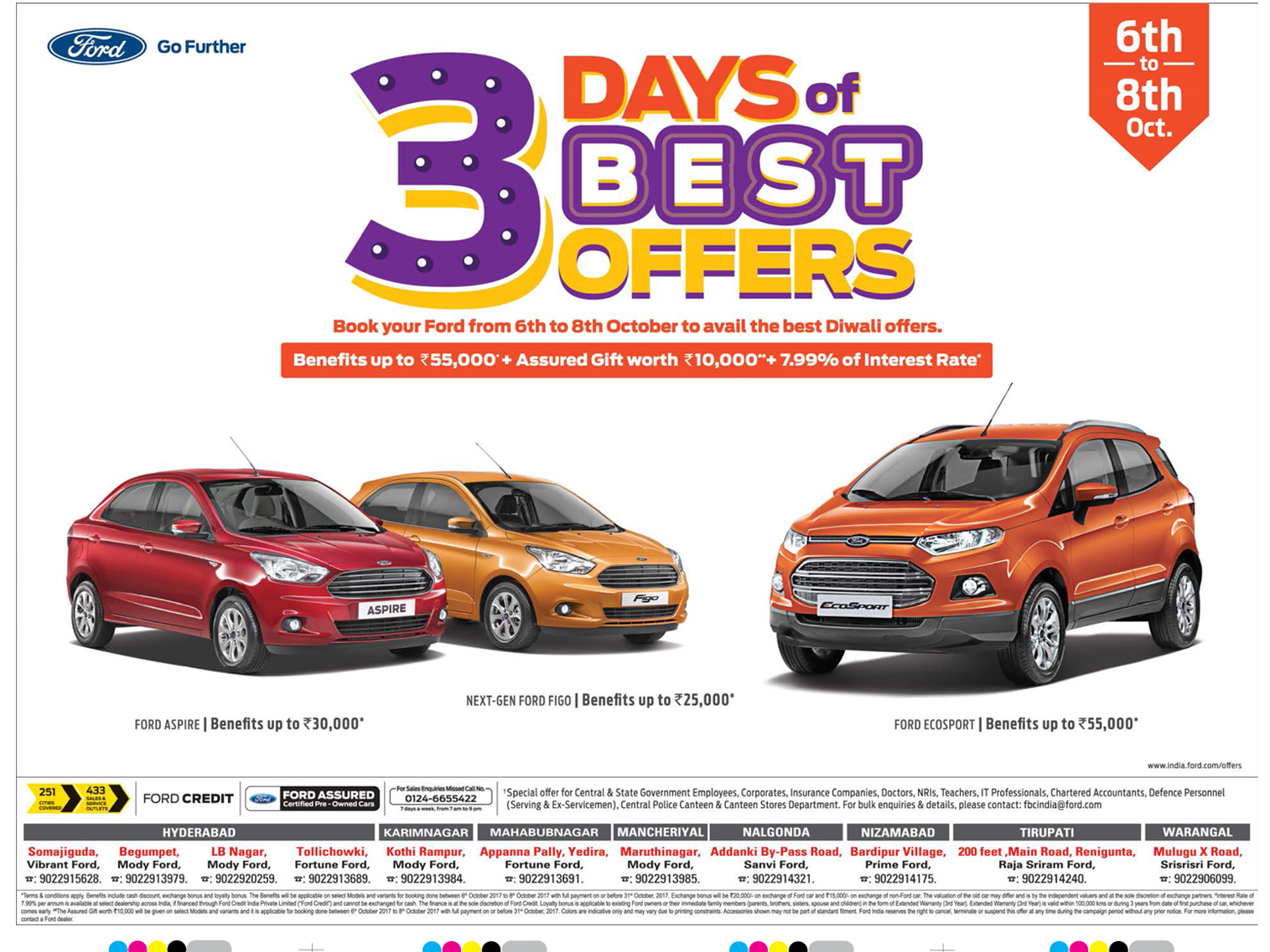Ford 3 Days Of Best Offers Book Your From 6th To 8th October To Avail The Best Diwali Offers Ad Ford Go Further Car Advertising Ads