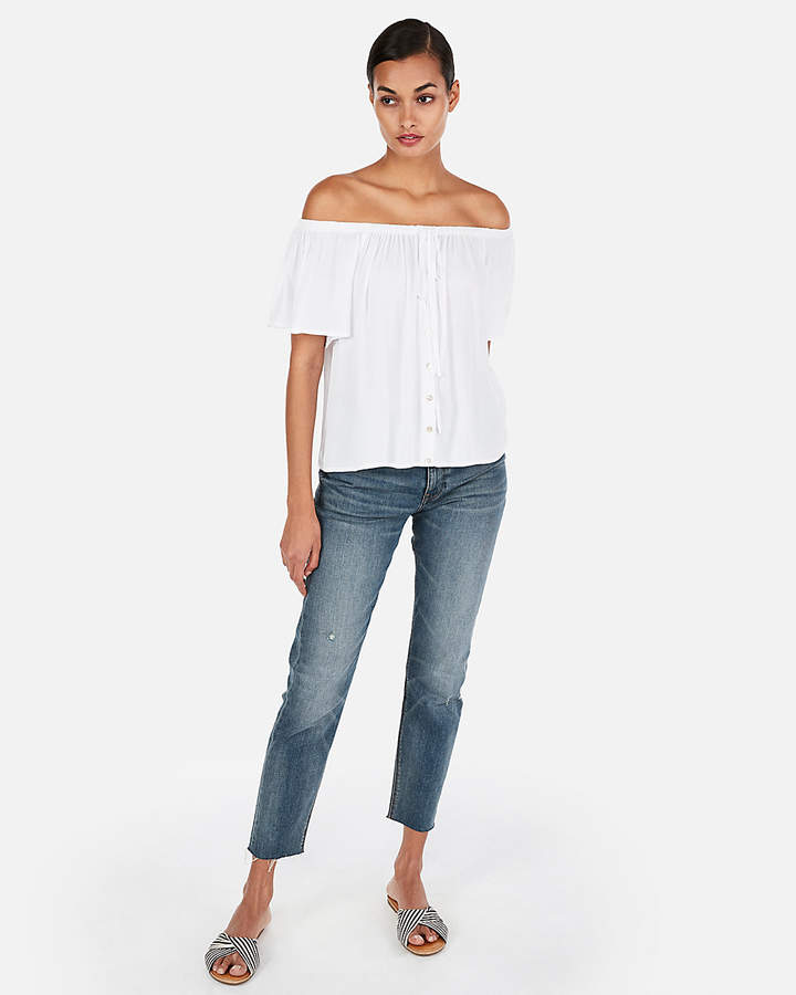 47d5e3f9c51 Express Solid Off The Shoulder Halter Neck Top | Products in 2019 ...