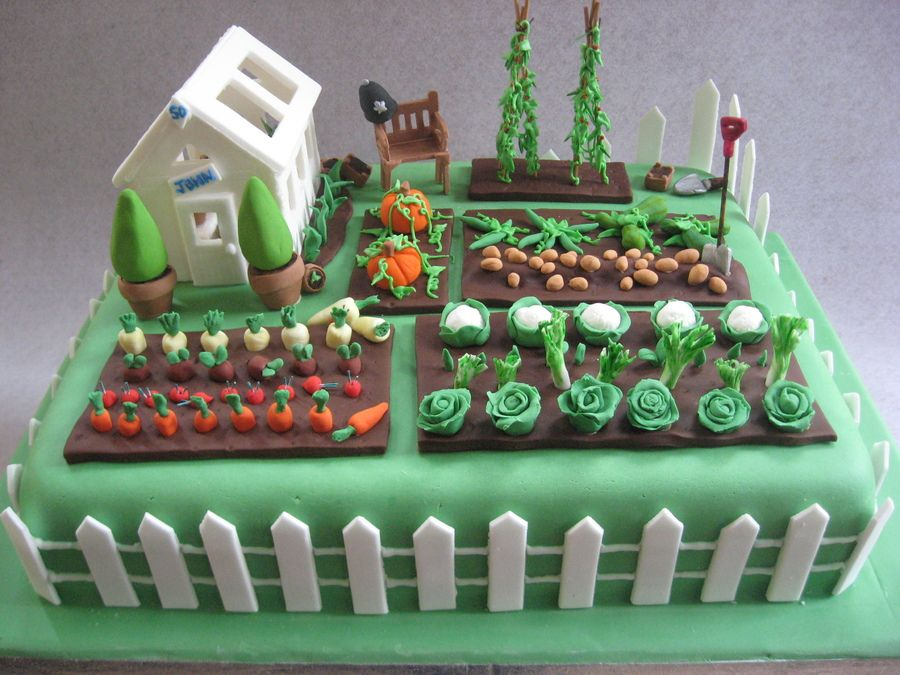 vegetable garden cake birthday cake for a keen gardener he also a policeman hence the helmet on the bench - Garden Design Birthday Cake