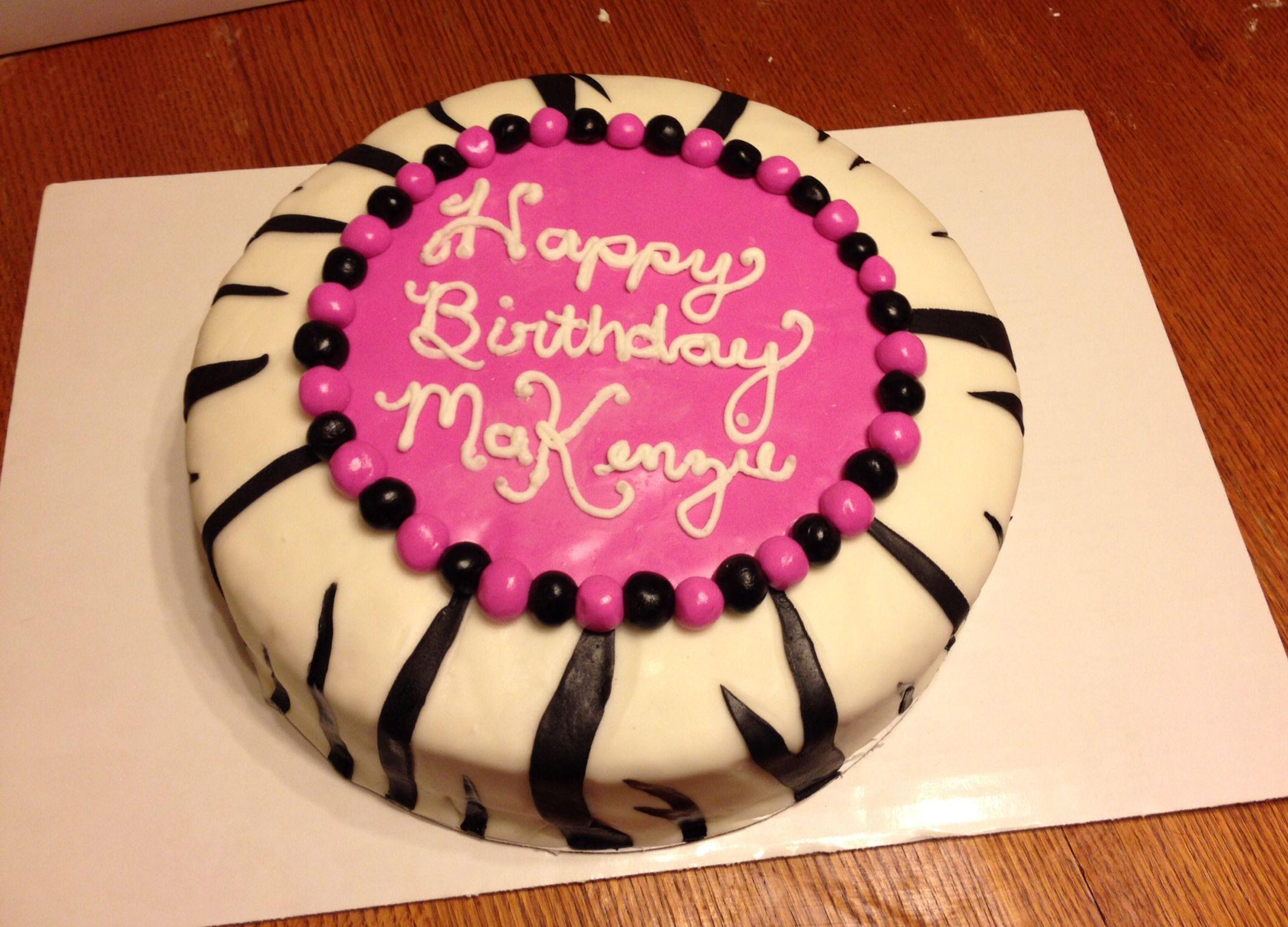1st Birthday Cake for MaKenzie... Zebra print, marshmallow fondant