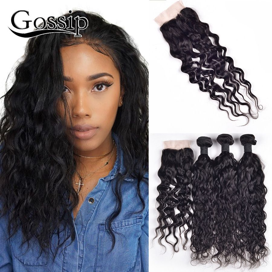 brazilian virgin hair bundles with closure wet and wavy