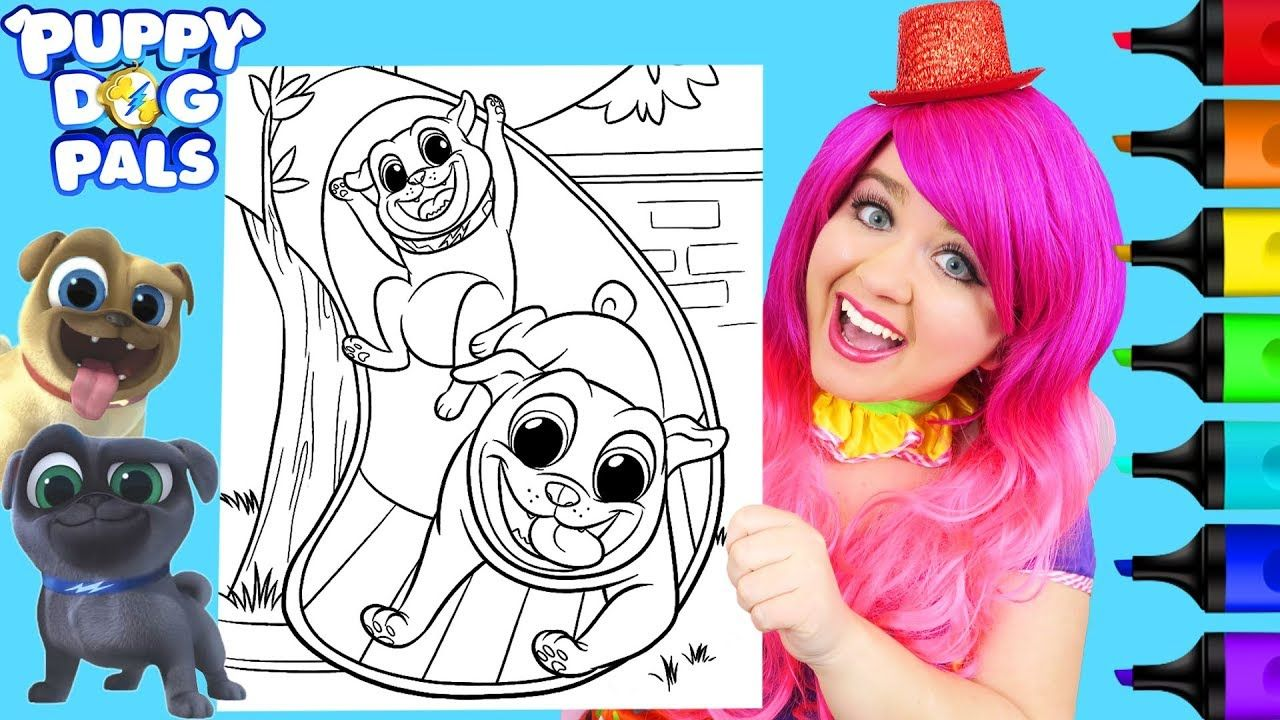Coloring Puppy Dog Pals Bingo Rolly Coloring Page Prismacolor Markers Valentines Day Coloring Page Fur Real Friends Valentines Day Coloring [ 720 x 1280 Pixel ]