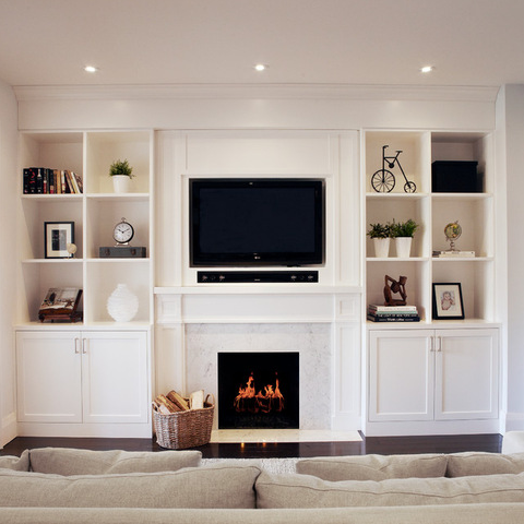 White Built In Wall Unit A Little Deeper Than The Fireplace Fireplace Built Ins Family Room Design Contemporary Family Rooms