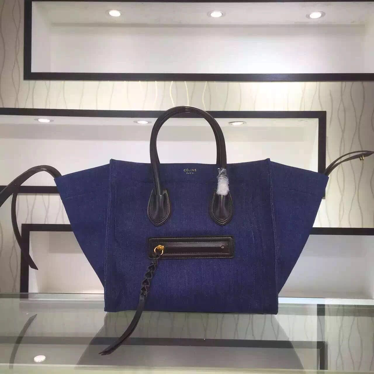 S S 2016 Celine Cheap Bags Outlet Online -Celine 30CM Luggage Phantom  Handbag in Black Leather and Navy Blue Canvas 1c9beebe5f769