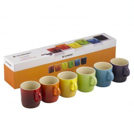 Le Creuset Rainbow Collection Espresso Mugs Set Of 6 Le Creuset Stoneware Mugs Mugs Set