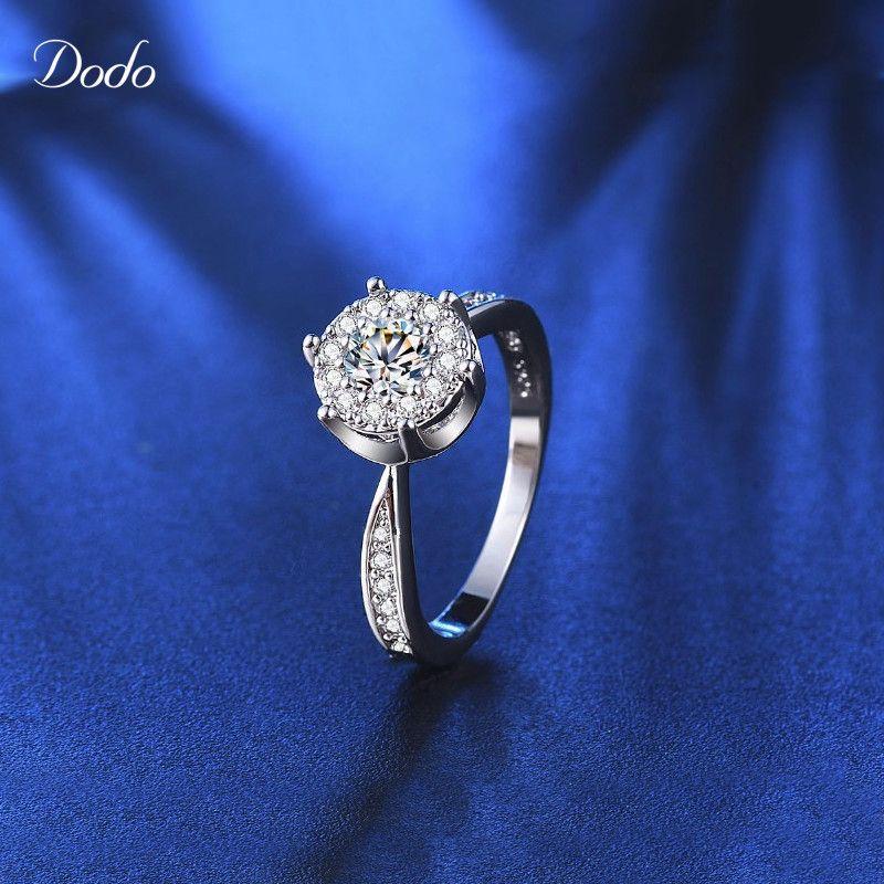 화이트 골드 채워진 반지 CZ 다이아몬드 보석 웨딩 약혼 bague 팜므 액세서리 초자연 anel 585 R93