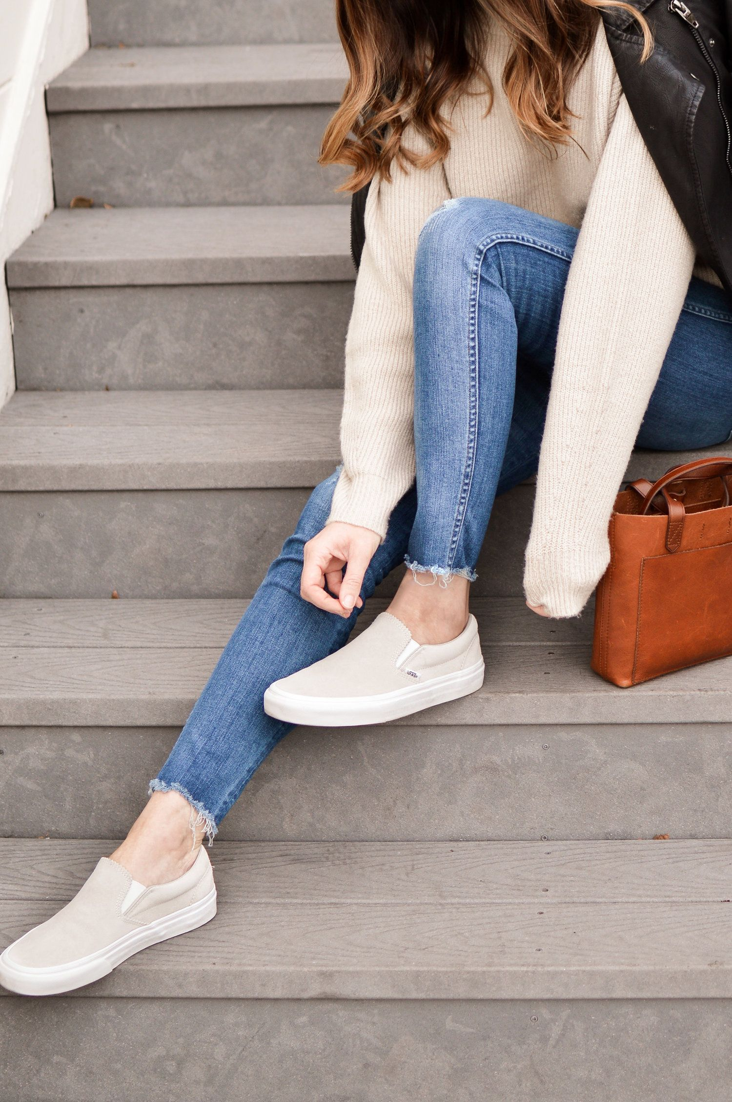 distressed jeans with gray vans slip on sneakers | How to