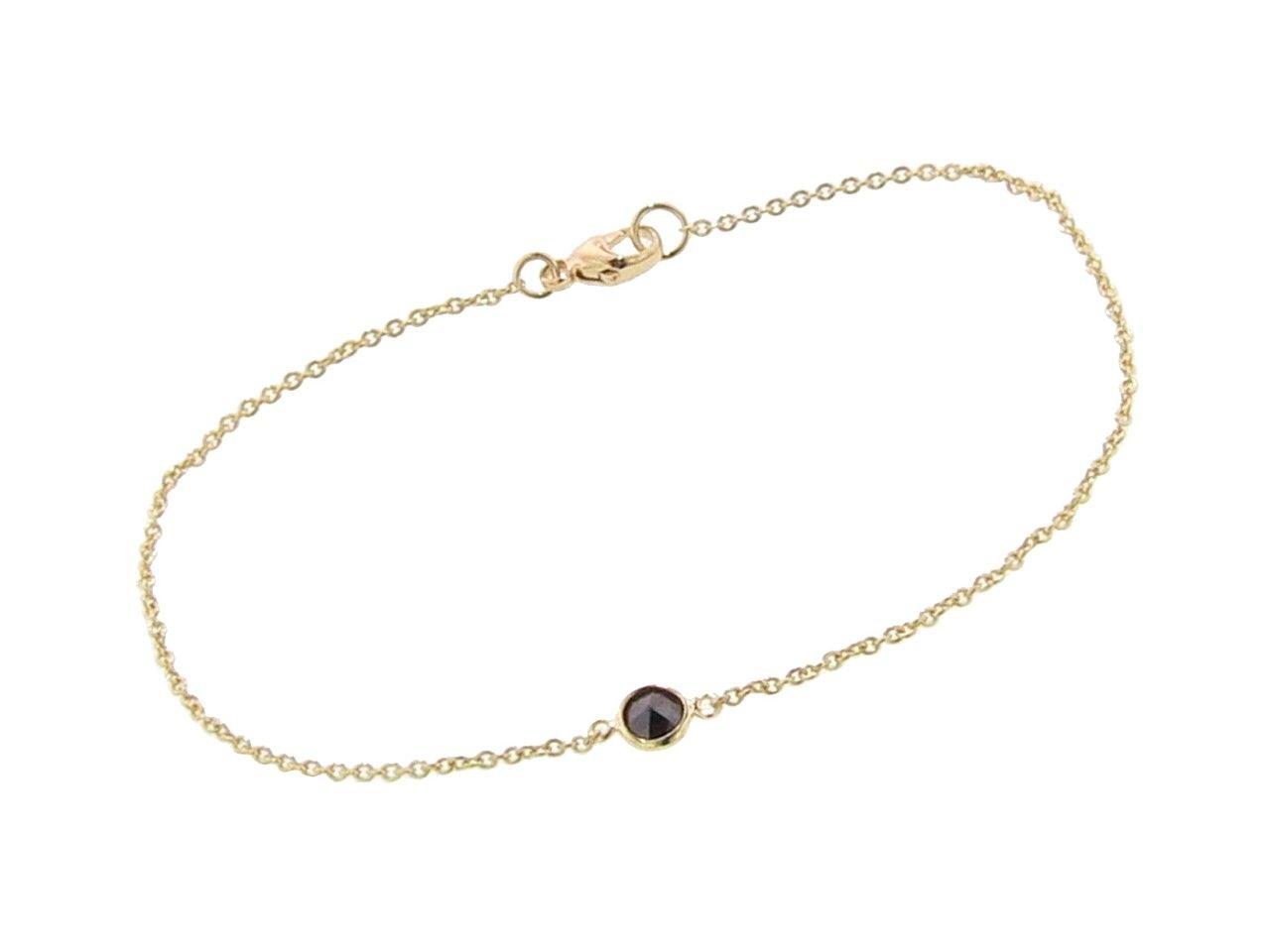 Finn fine bezel set black diamond bracelet yellow gold ylang