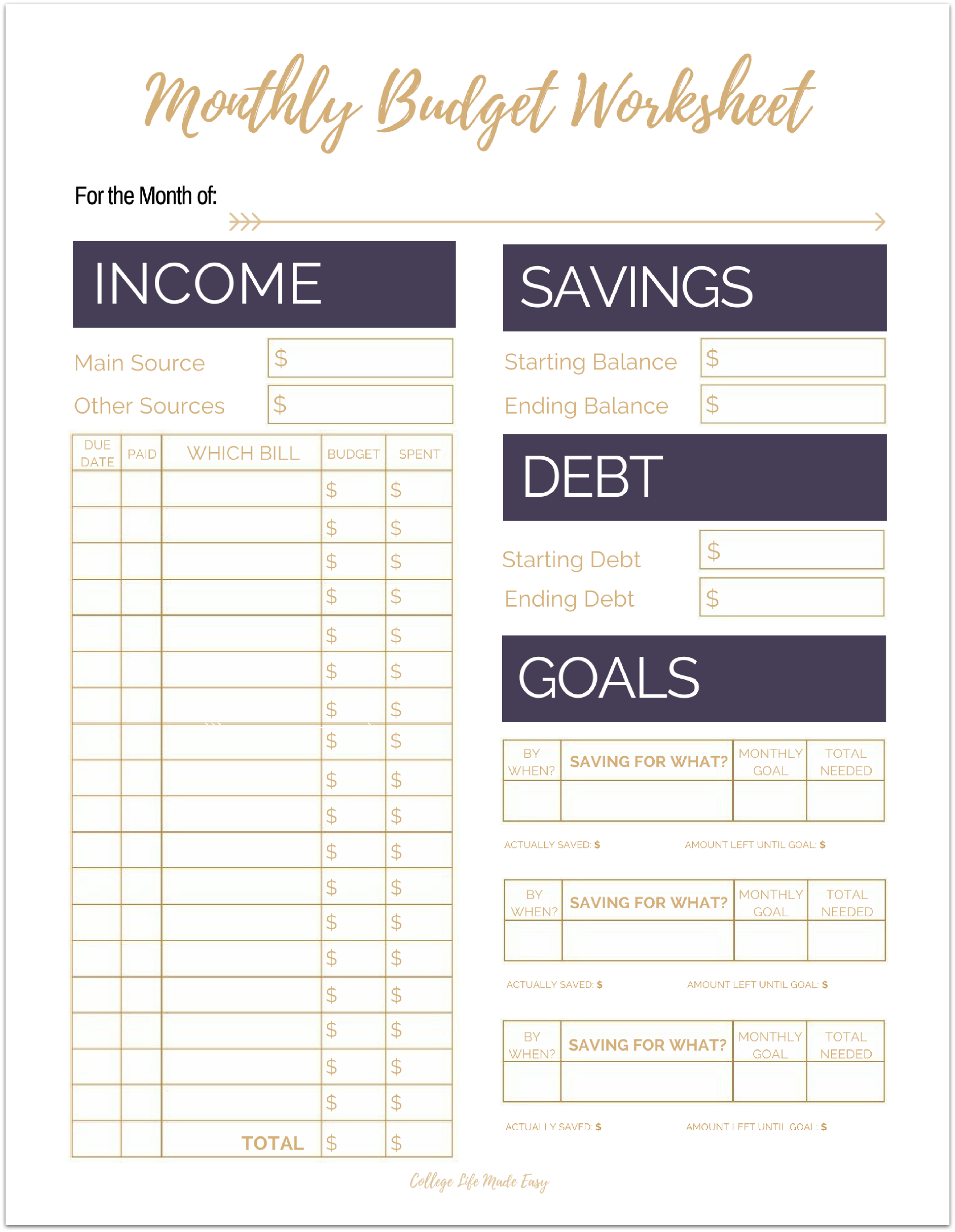 Cute Free Printable Budget Worksheet Templates for Organizing Your ...