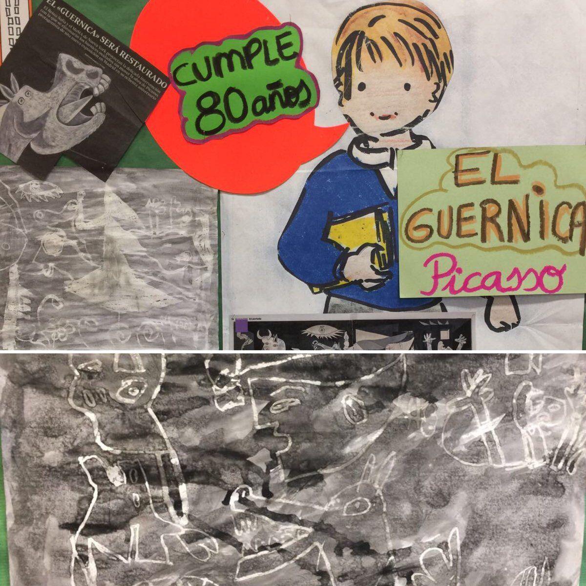 3ºB de primaria con el Guernica. Aprendemos copiando a los mejores #guernica #arte