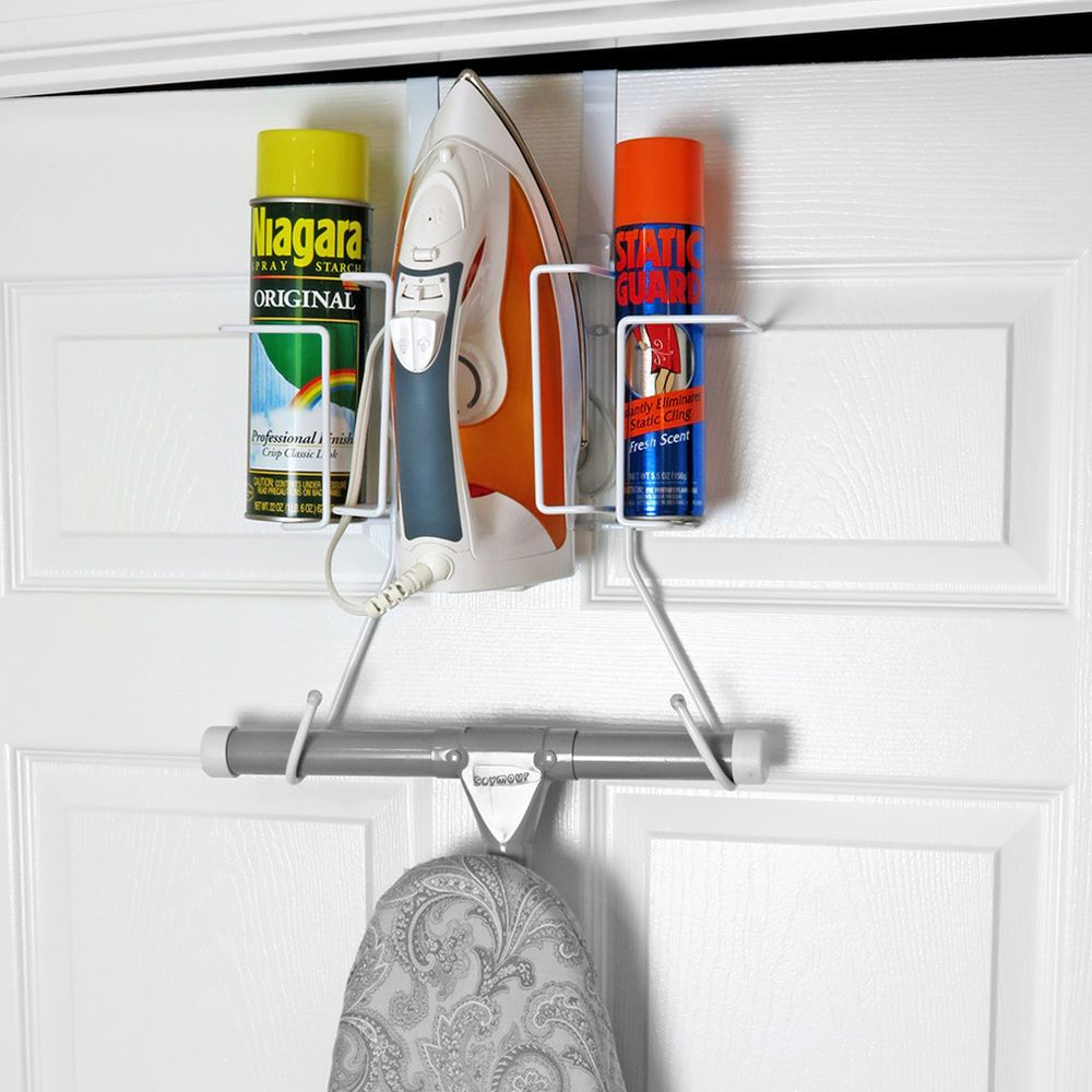 Evelots Ironing Board Holder Over Door No Tool Or Wall Mount Iron