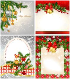 2012 Christmas Card Templates Vector Set Of 4 Beautiful New 2012 Vector Christmas Card Templates Free Christmas Greeting Card Template Christmas Card Template