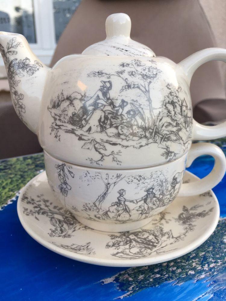 Théière Tasse à thé 2 en 1 COUNTRY CORNER TEAPOT TOILE DE JOUY ...